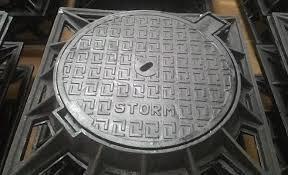 nắp hố ga bằng gang khung vuông âm nắp tròn